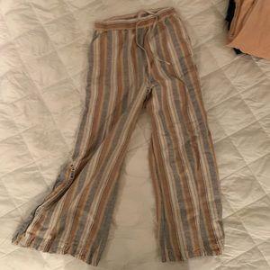 Free People Linen/Cotton Striped Wide Legs